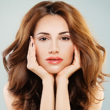Beautiful woman relaxed feeling face, Microneedling